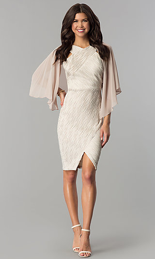 Sheer Champagne Open Front Flutter Sleeve Shawl