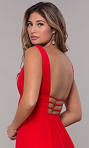 Image of JVN by Jovani sleeveless ruched v-neck prom dress. Style: JO-JVN-JVN52179 Detail Image 3