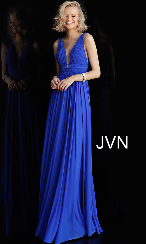 Image of JVN by Jovani sleeveless ruched v-neck prom dress. Style: JO-JVN-JVN52179 Detail Image 4