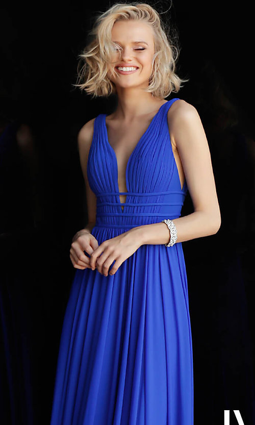 Image of JVN by Jovani sleeveless ruched v-neck prom dress. Style: JO-JVN-JVN52179 Detail Image 6