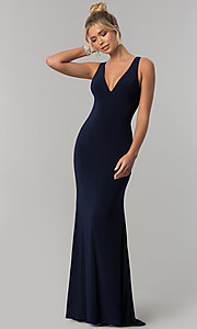 Image of long navy blue v-neck prom dress with back cut outs. Style: AL-60009-B Front Image