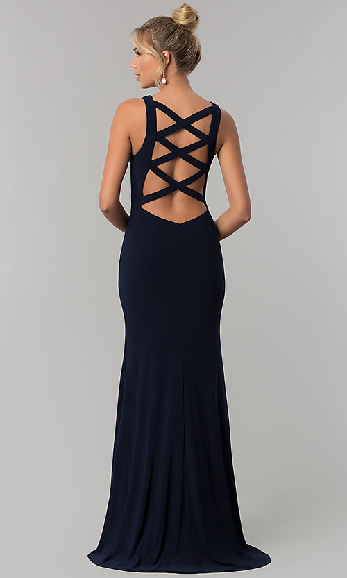 Image of long navy blue v-neck prom dress with back cut outs. Style: AL-60009-B Back Image