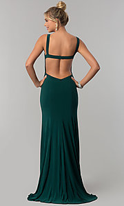 Image of princess-cut v-neck long prom dress with open back. Style: AL-60011 Back Image