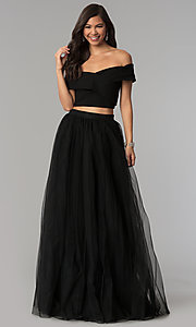Image of long off-the-shoulder two-piece prom dress. Style: AL-HL-111-2 Front Image