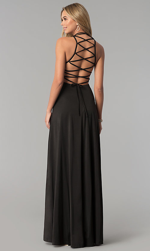 Image of long prom dress with strappy corset back. Style: AL-HL-251 Detail Image 3