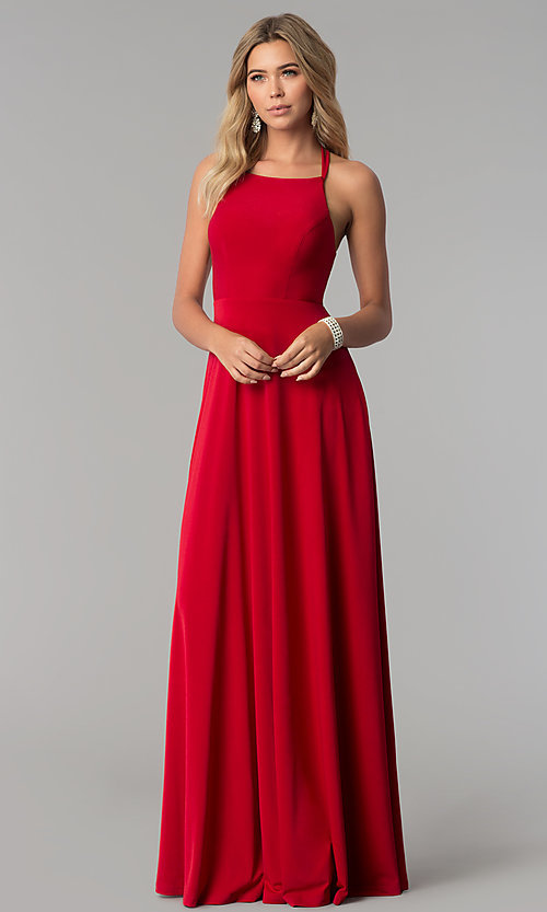 Image of long prom dress with strappy corset back. Style: AL-HL-251 Back Image