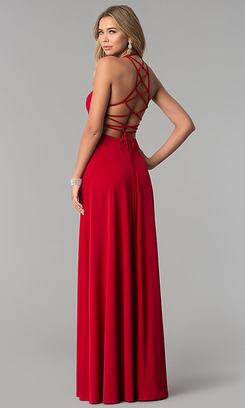 Image of long prom dress with strappy corset back. Style: AL-HL-251 Front Image