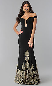 Image of off-the-shoulder black embroidered prom dress. Style: BL-11547 Front Image