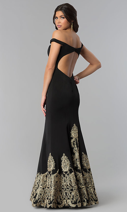 Image of off-the-shoulder black embroidered prom dress. Style: BL-11547 Back Image
