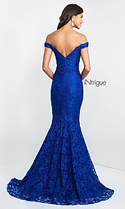 Image of off-the-shoulder long lace mermaid prom dress. Style: BL-IN-425 Back Image