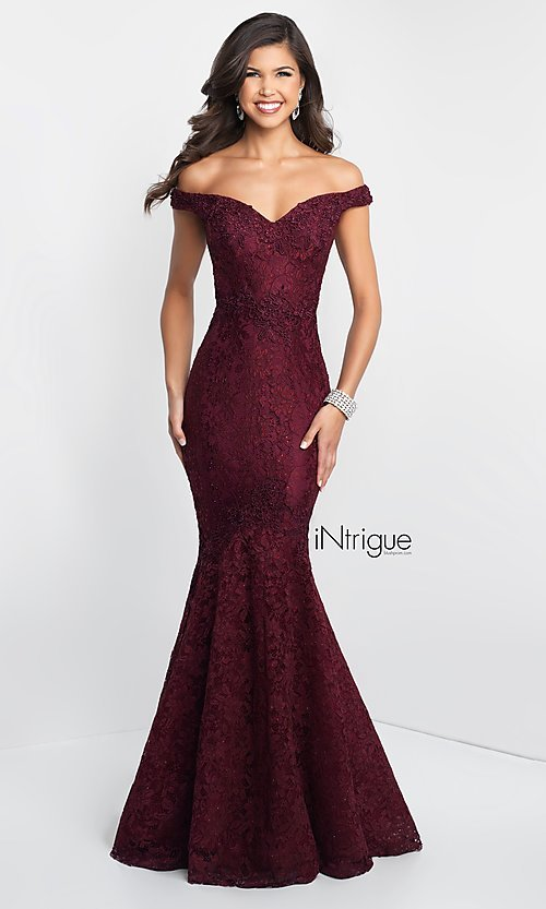 Image of off-the-shoulder long lace mermaid prom dress. Style: BL-IN-425 Front Image