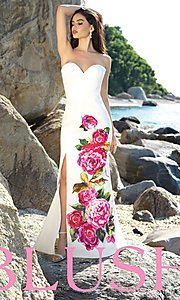Image of strapless pink-floral-print prom dress by Blush. Style: BL-C1038 Front Image
