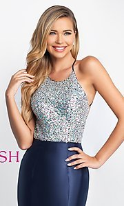 Image of backless long mermaid prom dress by Blush. Style: BL-C1013 Detail Image 1