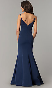 Image of long v-neck satin prom dress by Dave and Johnny. Style: DJ-3139 Back Image