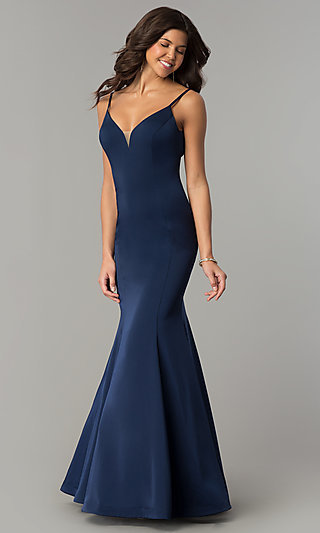 Long V-Neck Satin Prom Dress by Dave and Johnny
