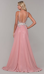 Image of high-neck long prom dress with front keyhole cut out. Style: DJ-3114 Detail Image 5