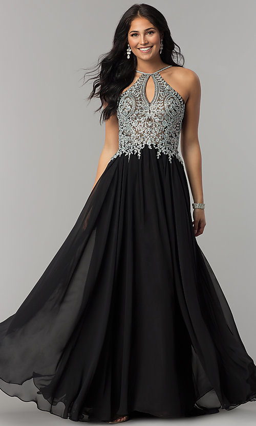 Image of high-neck long prom dress with front keyhole cut out. Style: DJ-3114 Detail Image 3