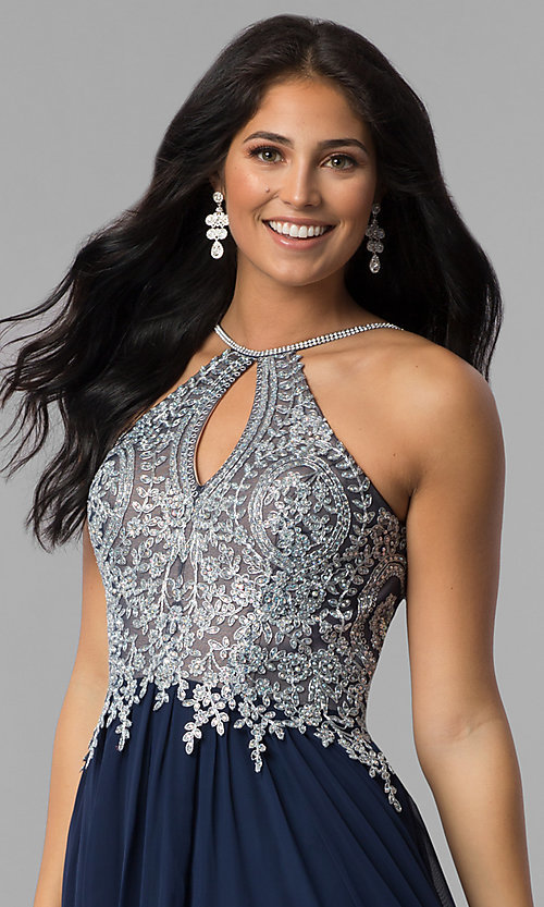 Image of high-neck long prom dress with front keyhole cut out. Style: DJ-3114 Detail Image 1