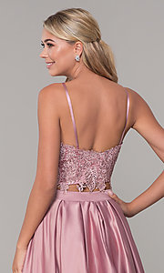 Image of square-neck lace-bodice two-piece long prom dress. Style: DJ-A6394 Detail Image 2