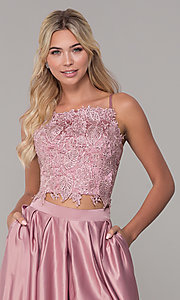 Image of square-neck lace-bodice two-piece long prom dress. Style: DJ-A6394 Detail Image 1