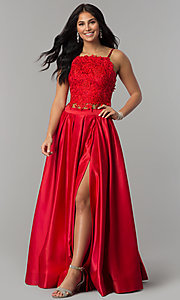 Image of square-neck lace-bodice two-piece long prom dress. Style: DJ-A6394 Detail Image 4