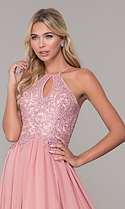 Image of long high-neck prom dress with keyhole cut out. Style: DJ-3250 Detail Image 1