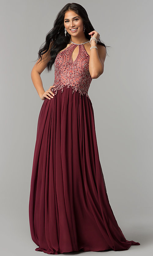 Image of long high-neck prom dress with keyhole cut out. Style: DJ-3250 Detail Image 4