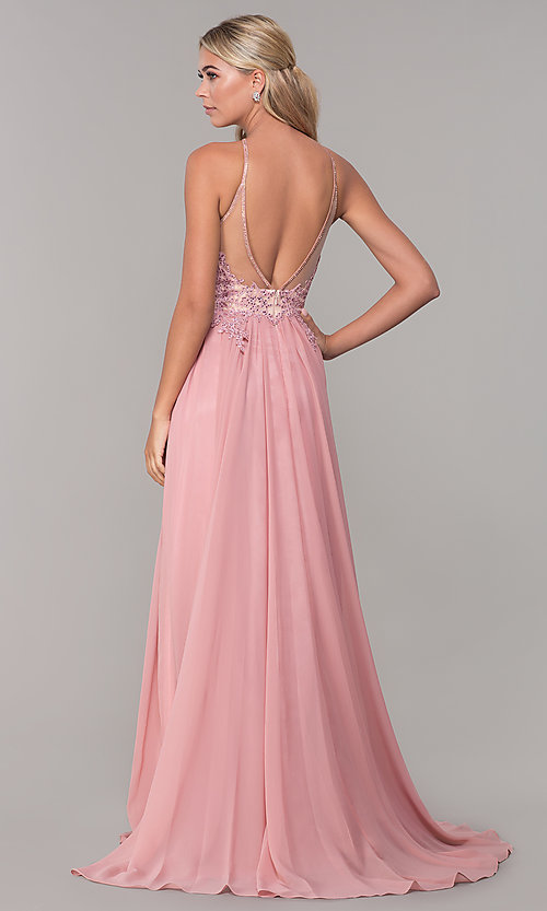 Image of long high-neck prom dress with keyhole cut out. Style: DJ-3250 Back Image
