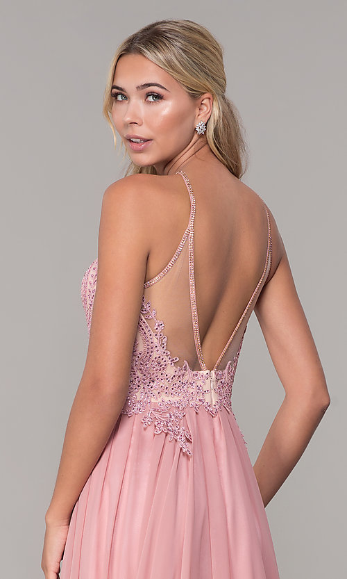 Image of long high-neck prom dress with keyhole cut out. Style: DJ-3250 Detail Image 2