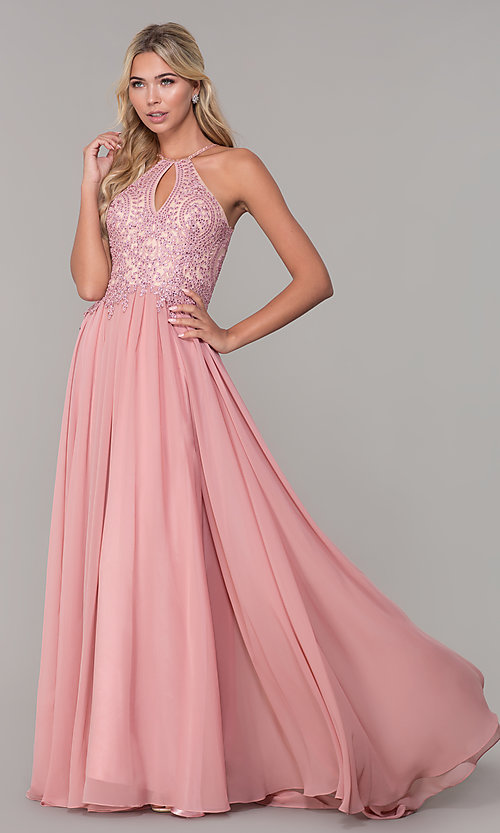 Image of long high-neck prom dress with keyhole cut out. Style: DJ-3250 Detail Image 3