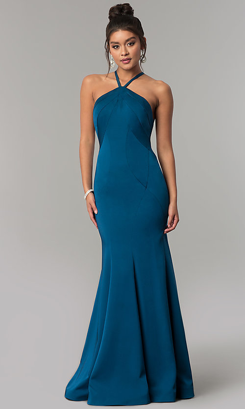 Image of long racer-front Dave and Johnny Prom Dress. Style: DJ-A6426 Front Image