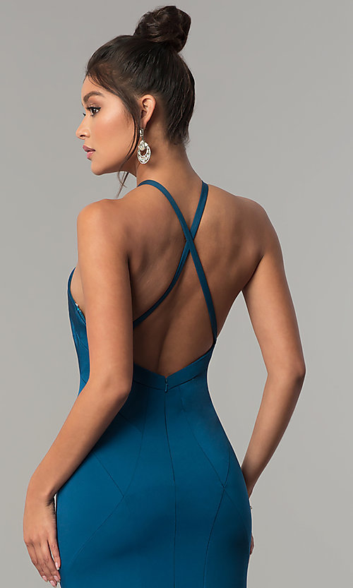 Image of long racer-front Dave and Johnny Prom Dress. Style: DJ-A6426 Detail Image 2