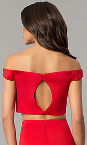 Image of red two-piece off-the-shoulder prom dress. Style: DJ-A6153 Detail Image 2
