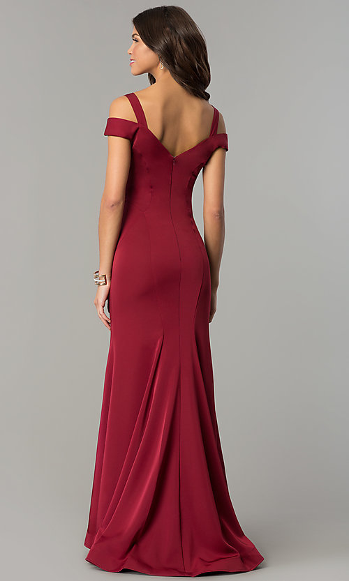 Image of cold-shoulder long satin mermaid prom dress. Style: DJ-A6425 Back Image
