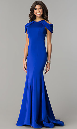 Cold-Shoulder Long Prom Dress by Dave and Johnny