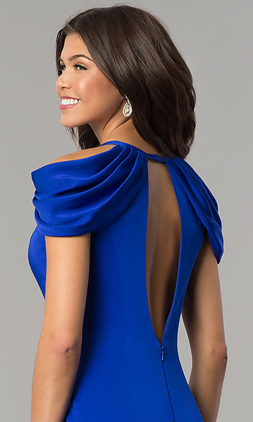 Image of cold-shoulder long prom dress by Dave and Johnny. Style: DJ-A5907 Detail Image 2