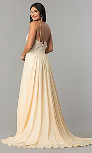Image of Dave and Johnny long cream prom dress. Style: DJ-3123 Back Image