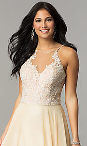 Image of Dave and Johnny long cream prom dress. Style: DJ-3123 Detail Image 1