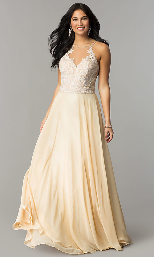 Image of Dave and Johnny long cream prom dress. Style: DJ-3123 Front Image