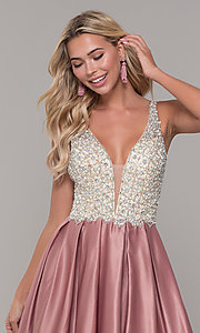 Image of v-neck Dave and Johnny long prom dress. Style: DJ-A6395 Detail Image 1