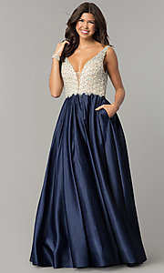 Image of v-neck Dave and Johnny long prom dress. Style: DJ-A6395 Detail Image 4