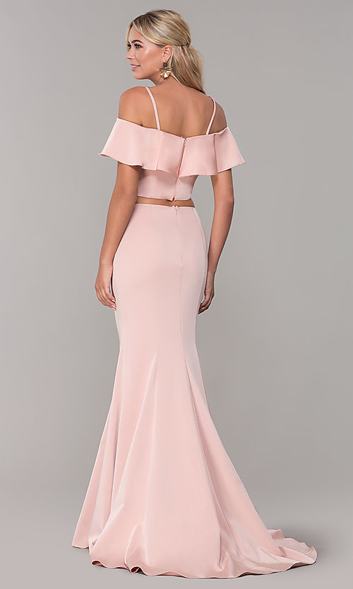 Image of off-the-shoulder two-piece prom dress with ruffle. Style: DJ-A3416 Back Image