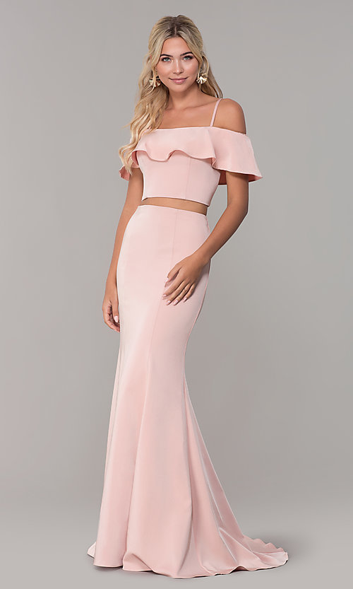 Image of off-the-shoulder two-piece prom dress with ruffle. Style: DJ-A3416 Detail Image 3