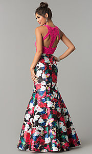 Image of floral-print mermaid formal prom dress with lace. Style: TE-7036 Back Image