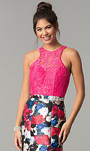 Image of floral-print mermaid formal prom dress with lace. Style: TE-7036 Detail Image 1