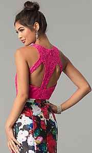 Image of floral-print mermaid formal prom dress with lace. Style: TE-7036 Detail Image 2