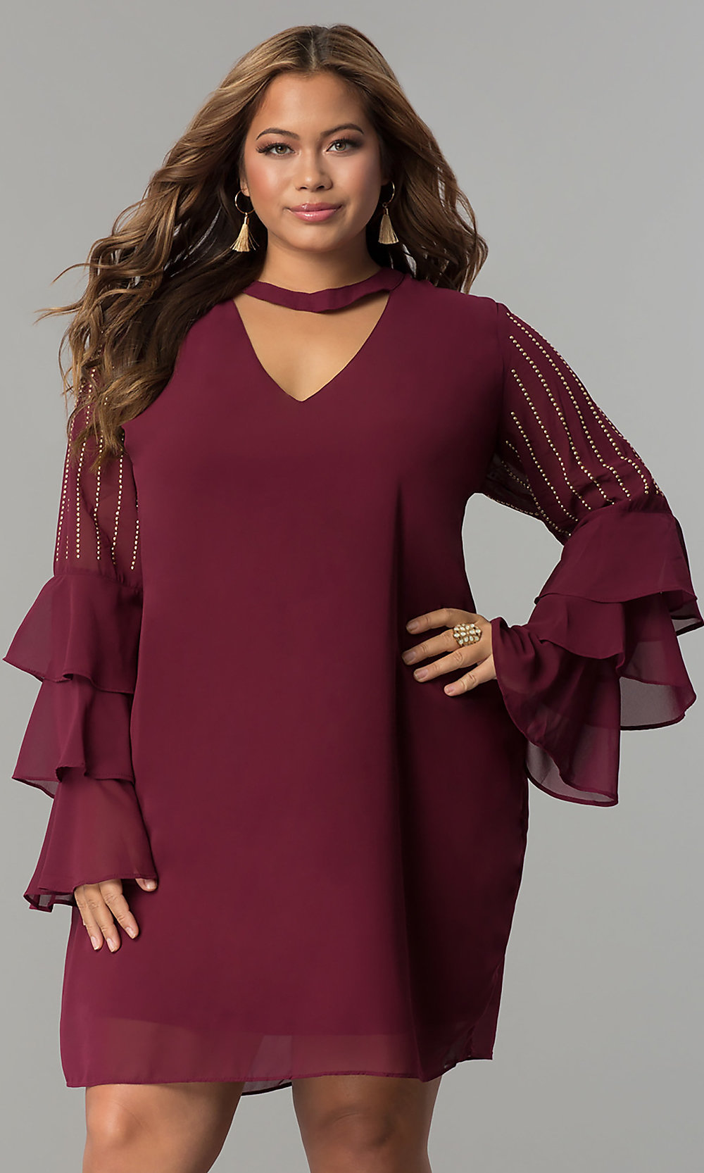 Sleeved Short Chiffon Plus-size Party Dress - PromGirl