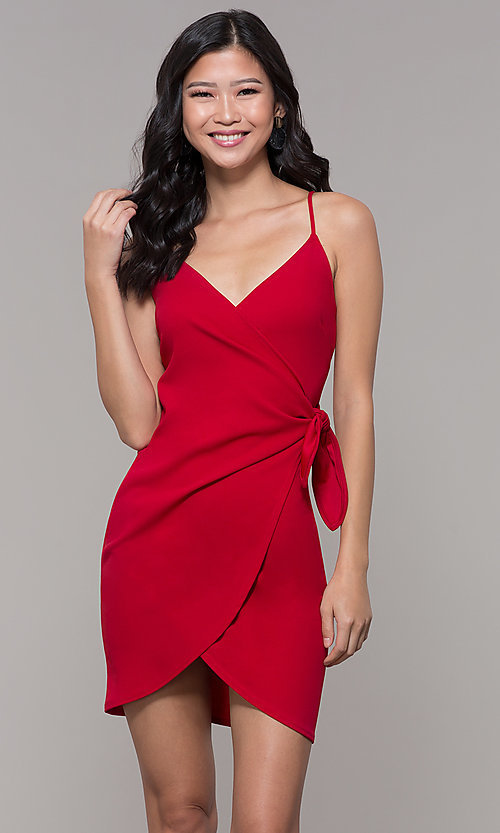 Image of short tulip-skirt v-neck wrap party dress. Style: BLU-BD8615-1 Detail Image 3