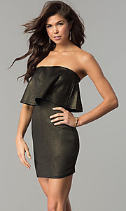 Image of short strapless black and gold popover party dress. Style: BLU-BD7384-3 Front Image