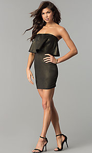 Image of short strapless black and gold popover party dress. Style: BLU-BD7384-3 Detail Image 2